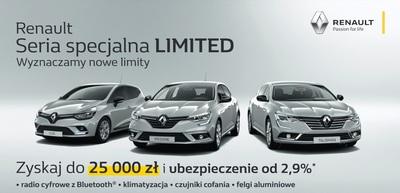 Renault Seria specjalna LIMITED - Zyskaj do 25 000 zł. oraz ubezpieczenie  od 2,9%.