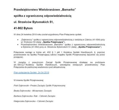 BAMARKO - ogłoszenie o połączeniu Spółek