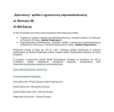 DĄBROWSCY - ogłoszenie o połączeniu Spółek