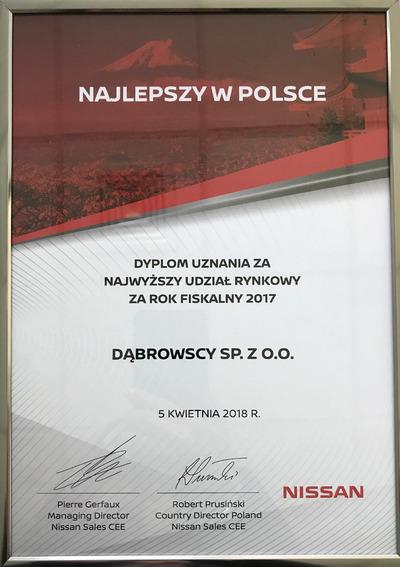 Grupa Dąbrowscy leaderem Nissan w kraju - Nagroda za 2017r.