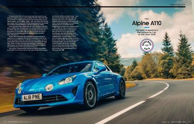 "Alpine A110 z tytułem ""Performance Car Of The Year 2018"""