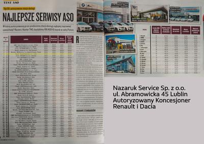 4 miejsce Nazaruk Service w ogólnopolskiem rankingu Autoryzowanych Stacji Obsługi