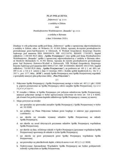Plan połączenia Spółek 24 04 2018