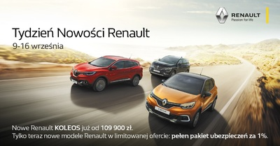 TYDZIEŃ NOWOŚCI RENAULT 9-16 września - NOWY KOLEOS SUV Renault